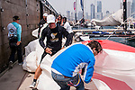 Competitors in action during Day 1of the Act 3 Extreme Sailing Series Qingdao 2014 at Qingdao International Sailing Centre race during the  on May 1, 2014 in Qingdao, China. Photo by Xaume Olleros / Power Sport Images