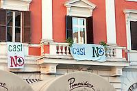 Roma 5  Maggio 2011.Striscioni alle finestre al Quartiere San Lorenzo contro l'apertura  di un casino' alla sala del cinema Palazzo in Piazza dei Sanniti occupata  da associazioni e dal comitato di quartiere per protestare contro l'apertura del casino'..