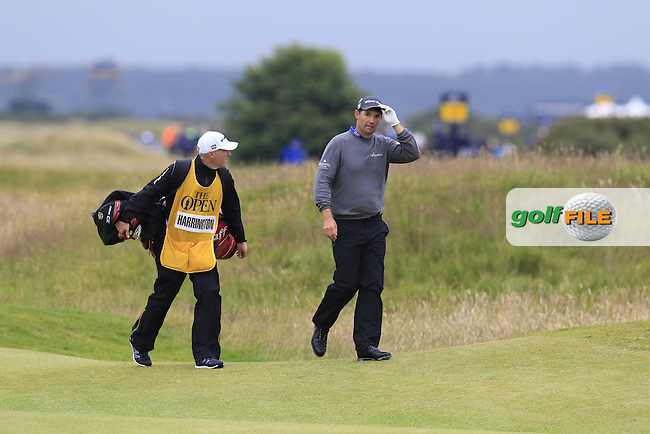 Padraig HARRINGTON (IRL) and caddy Ronan Flood walk to the 17th green during Monday's Final Round of the 144th Open Championship, St Andrews Old Course, St Andrews, Fife, Scotland. 20/07/2015.<br /> Picture Eoin Clarke, www.golffile.ie