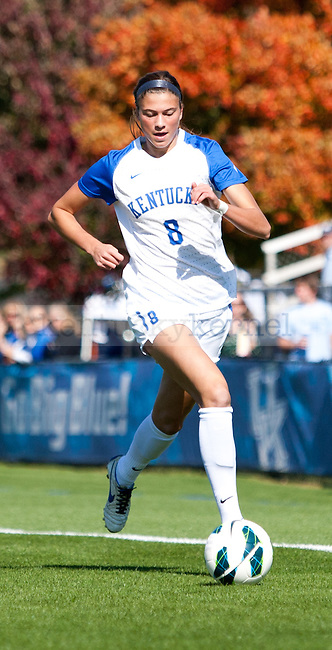 Freshman forward Kelli Hubly breaks down the field with the ball during the University of Kentucky's women's soccer game at the UK Soccer Complex in  Lexington, Ky., on Sunday, October. 21, 2012.
