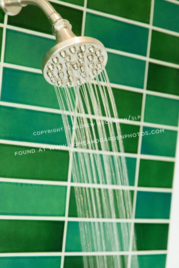 Bright green subway tile line the shower walls. This image is available through an alternate architectural stock image agency, Collinstock located here: http://www.collinstock.com
