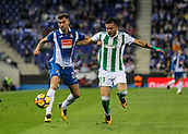30th October 2017, Cornella-El Prat, Cornella de Llobregat, Barcelona, Spain; La Liga football, Espanyol versus Real Betis; Leo Baptistao takes on Tosca of Betis