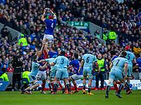 8th March 2020; Murrayfield Stadium, Edinburgh, Scotland; International Six Nations Rugby, Scotland versus France; Bernard Le Roux of France wins a lineout