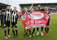 St Mirren players (l to r) Stelios Demetriou, Gavin Reilly, Cammy Smith, Liam Smith, Myles Hippolyte and Kyle Magennis celebrate after winning the Scottish Professional Football League Ladbrokes Championship at the Paisley 2021 Stadium, Paisley on 14.4.18.