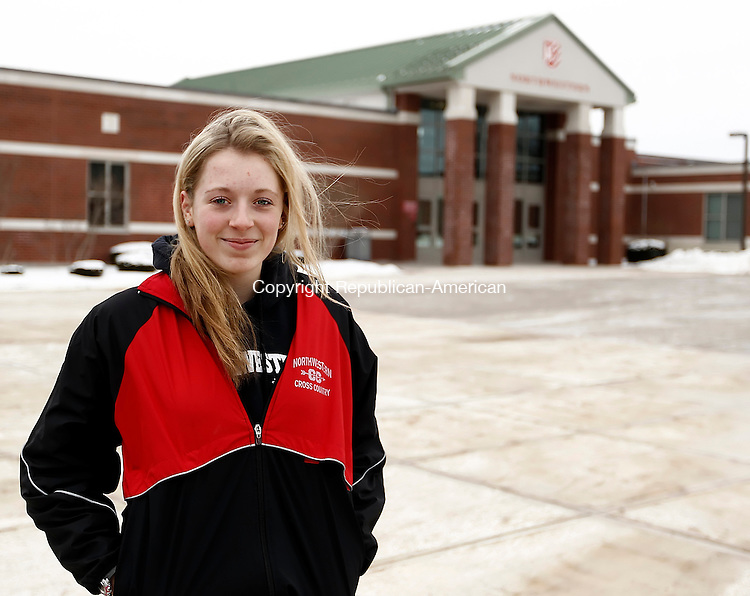Winsted, CT- 26 January 2014-012614CM04-  Mady Malcynski, 16, of Torrington poses for a photo outside of Northwestern Regional School in Winsted on Sunday. Malcynski is one of the high number of students who have left her school district to attend another school. Christopher Massa Republican-American