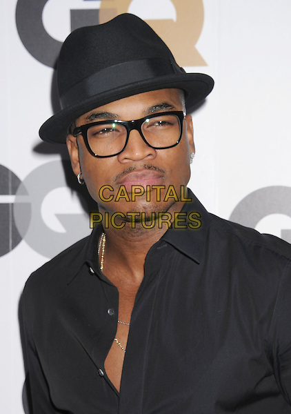 Ne-Yo (Shaffer Chimere Smith, Jr.).Arriving at the GQ Men Of The Year Party at Chateau Marmont Hotel in Los Angeles, California, USA..November 13th, 2012.headshot portrait black hat glasses moustache mustache facial hair .CAP/ROT/TM.©Tony Michaels/Roth Stock/Capital Pictures