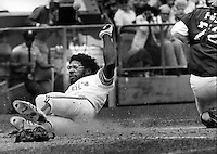 Oakland A's Mitchell Page slides into home.<br />