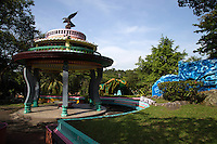 Haw Par Villa is a one-of-a-kind theme park in Singapore with over a thousand statues and a hundred dioramas depicting scenes from Chinese mythology,  Confucian stories, folklore and legends.  Originally called Tiger Balm Gardens, the park was built by the Burmese-Chinese brothers Aw Boon Haw and Aw Boon Par  who were the developers of Tiger Balm ointment. They created the park in 1937 for teaching the public traditional Chinese values. The most renowned attraction at Haw Par Villa is the Ten Courts of Hell featuring gruesome depictions of hell in  Buddhism and Chinese mythology.