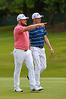 Tyrrell Hatton (ENG) and Justin Thomas (USA) chat as they head down 18 during round 3 of the WGC FedEx St. Jude Invitational, TPC Southwind, Memphis, Tennessee, USA. 7/27/2019.<br /> Picture Ken Murray / Golffile.ie<br /> <br /> All photo usage must carry mandatory copyright credit (© Golffile | Ken Murray)