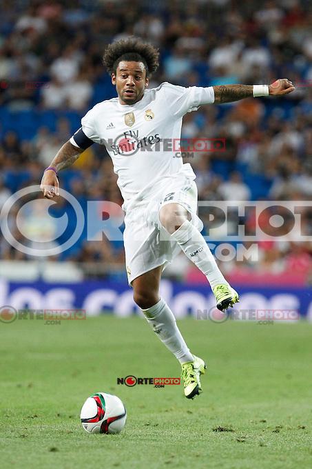 Real Madrid´s Marcelo Vieira during Santiago Bernabeu Trophy match at Santiago Bernabeu stadium in Madrid, Spain. August 18, 2015. (ALTERPHOTOS/Victor Blanco)