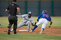 AZL Padres 1 second baseman Luis Guzman (7) attempts to apply the tag to Jose Gutierrez (20) on a stolen base attempt as field umpire Brandon Dinslage looks on during an Arizona League game against the AZL Cubs 1 at Sloan Park on July 5, 2018 in Mesa, Arizona. The AZL Cubs 1 defeated the AZL Padres 1 3-1. (Zachary Lucy/Four Seam Images)