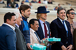 December 1 2018: Luke Wilson, Victor Espinoza and Owen Wilson present the trophy to the connections of #6 Raging Bull, ridden by Joel Rosario, after winning the Hollywood Derby (Grade 1) on December 1, 2018, at Del Mar Thoroughbred Club in Del Mar, CA.