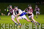 Cian Hussey (capt Ardfert) in action with Brandon Barrett in the Keane's Super Valu,Killorglin in the County Minor Hurling Championship final on Friday night at Abbeydorney GAA Grounds.