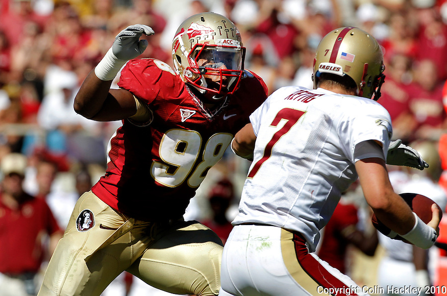 TALLAHASSEE, FL 10-FSU-BC 101610 FB10 CH-Florida State's Markus White closes in on Boston College's Chase Rettig during second half action Saturday at Doak Campbell Stadium in Tallahassee. The Seminoles beat the Eagles 24-19. .COLIN HACKLEY PHOTO