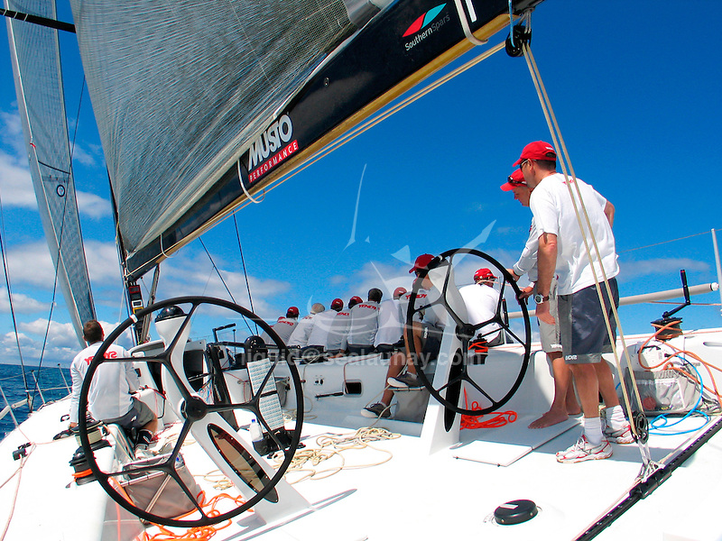 Onboard Yendys a Reichel/Pugh 55 during the Withehaven Beach race at the Hamilton Island Race Week 2007 in the Whitsundays, Australia. . Geoff Ross launched his new Reichel/Pugh 55 late 2006.  It was the first boat out of McConaghy International's new boatyard in China.  Yendys (Sydney spelt backwards) has been an icon of the Australian sailing scene for many  year.Yendys a Reichel/Pugh 55 at her arrival in Hobart, Tasmania after competing in the Rolex Sydney to Hobart Yacht race 2006. Geoff Ross launched his new Reichel/Pugh 55 late 2006.  It was the first boat out of McConaghy International's new boatyard in China.  Yendys (Sydney spelt backwards) has been an icon of the Australian sailing scene for many  year.