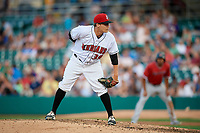 Indianapolis Indians relief pitcher Montana DuRapau (39) looks in for the sign during a game against the Rochester Red Wings on July 24, 2018 at Victory Field in Indianapolis, Indiana.  Rochester defeated Indianapolis 2-0.  (Mike Janes/Four Seam Images)