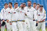 Picture by Alex Whitehead/SWpix.com - 23/04/2018 - Cricket - Specsavers County Championship Div One - Yorkshire v Nottinghamshire, Day 4 - Emerald Headingley Stadium, Leeds, England - Yorkshire's Adam Lyth and Jack Leaning celebrate the win.