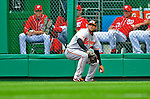 24 May 2009: Baltimore Orioles' right fielder Nick Markakis picks up a line drive in front of the Washington Nationals bullpen during a game against the Nationals at Nationals Park in Washington, DC. The Nationals rallied to defeat the Orioles 8-5 and salvage a win in their interleague series. Mandatory Credit: Ed Wolfstein Photo