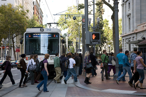 07 October 2009 - Portland, Oregon - Commuters boarding the TriMet MAX Light Rail.  Photo Credit: Elizabeth A. Miller/Sipa Press