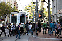 07 October 2009 - Portland, Oregon - Commuters boarding the TriMet MAX Light Rail.  Photo Credit: Elizabeth A. Miller/Sipa Press