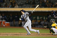 OAKLAND, CA - MAY 30:  Matt Duffy #5 of the Tampa Bay Rays bats against the Oakland Athletics during the game at the Oakland Coliseum on Wednesday, May 30, 2018 in Oakland, California. (Photo by Brad Mangin)