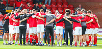Fleetwood Town's Alex Cairns speaks to the huddle before kick off<br /> <br /> Photographer Alex Dodd/CameraSport<br /> <br /> The EFL Sky Bet League One - Fleetwood Town v Accrington Stanley - Saturday 15th September 2018  - Highbury Stadium - Fleetwood<br /> <br /> World Copyright &copy; 2018 CameraSport. All rights reserved. 43 Linden Ave. Countesthorpe. Leicester. England. LE8 5PG - Tel: +44 (0) 116 277 4147 - admin@camerasport.com - www.camerasport.com