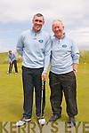 Castlegregory Captain Brian Neenan (right) with team mate Declan O'Carroll at the Jimmy Bruen Cup in Ceann Sibéal Golf Course, Baile an Fheirtéaraigh, on Saturday afternoon.
