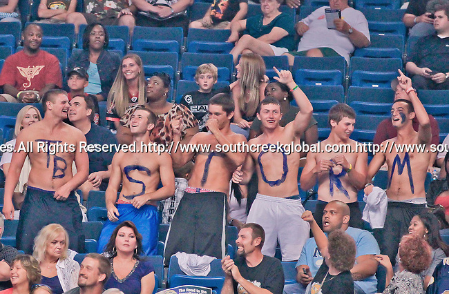 Aug 14, 2010: Tampa Bay Storm fans cheer the team to victory. The Storm defeated the Predators 63-62 to win the division title at the St. Petersburg Times Forum in Tampa, Florida. (Mandatory Credit:  Margaret Bowles)