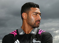 Richie Mo'unga speaks to the media during the Crusaders Super Rugby training session at Rugby Park in Christchurch, New Zealand on Thursday 22 February 2018. Photo: Martin Hunter / lintottphoto.co.nz