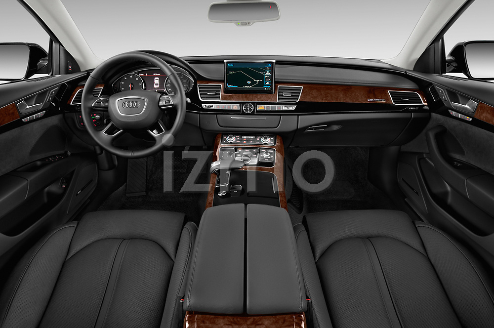 Stock photo of straight dashboard view of 2015 Audi A8 3.0T LWB quattro tiptronic 4 Door Sedan