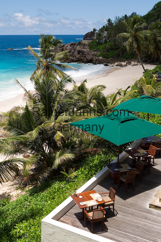 Seychelles, Island Mahe, Anse Intendance: Banyan Tree Hotel - terrace, patio