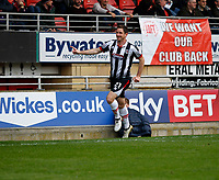 GOAL - Grimsby Town's Scott Vernon scores during the Sky Bet League 2 match between Leyton Orient and Grimsby Town at the Matchroom Stadium, London, England on 11 March 2017. Photo by Carlton Myrie / PRiME Media Images.