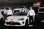 "September 19, 2017, Tokyo, Japan - Japanese automobile giant Toyota Motor president Akio Toyoda (R) and senior managing officer Shigeki Tomoyama display Toyota's sports car series ""GR sports"" from Gazoo racing at Toyota's showroom Megaweb in Tokyo on Tuesday, September 19, 2017. GR series are sports tuned Toyota's vehicle and seven models are started to sell from September 19 through Toyota's shops.    (Photo by Yoshio Tsunoda/AFLO) LWX -ytd-"
