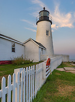 Lincoln County, Maine: Pemaquid Point Lighthouse (1835) in at dawn with moon set.