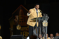 Canton, Ohio - August 8, 2015: Former NFL player Jerome Bettis makes his induction speech during the 2015 Pro Football Hall of Fame enshrinement in Canton, Ohio, August 8, 2015.  (Photo by Don Baxter/Media Images International)