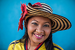 Portrait of a young Wayuu indigenous girl dressed for a school event in Uribia, La Guajira, Colombia.