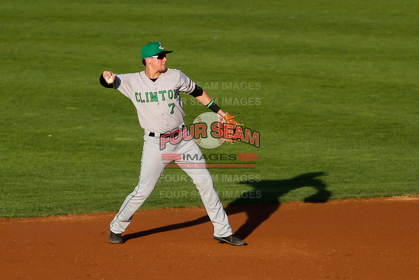 Clinton LumberKings second baseman Zach Scott (7) makes a throw to first base during a Midwest League game against the Wisconsin Timber Rattlers on June 20, 2019 at Fox Cities Stadium in Appleton, Wisconsin. Wisconsin defeated Clinton 5-2. (Brad Krause/Four Seam Images)