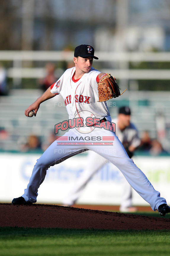 Pawtucket Red Sox pitcher Allen Webster #11 during a game versus the Columbus Clippers at McCoy Stadium in Pawtucket, Rhode Island on April 27, 2013.  (Ken Babbitt/Four Seam Images)