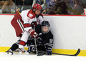 Kyle Criscuolo (Harvard - 11), Derek Bacon (Bentley - 22) - The Harvard University Crimson defeated the visiting Bentley University Falcons 5-0 on Saturday, October 27, 2012, at Bright Hockey Center in Boston, Massachusetts.