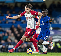 Jay Rodriguez of WBA & Ngolo Kante of Chelsea during the Premier League match between Chelsea and West Bromwich Albion at Stamford Bridge, London, England on 12 February 2018. Photo by Andy Rowland.