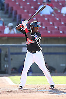 Juremi Profar (24) of the High Desert Mavericks bats during a game against the San Jose Giants at Mavericks Stadium on June 14, 2015 in Adelanto, California. High Desert defeated San Jose, 7-5. (Larry Goren/Four Seam Images)