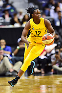 Washington, DC - June 15, 2018: Los Angeles Sparks guard Chelsea Gray (12) brings the ball up court during game between the Washington Mystics and Los Angeles Sparks at the Capital One Arena in Washington, DC. (Photo by Phil Peters/Media Images International)