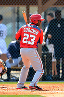 Washington Nationals outfielder Brian Goodwin #23 during a minor league Spring Training game against the Detroit Tigers at Tiger Town on March 22, 2013 in Lakeland, Florida.  (Mike Janes/Four Seam Images)