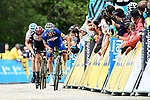 Julian Alaphilippe (FRA) Quick-Step Floors, Dan Martin (IRL) UAE Team Emirates and Geraint Thomas (WAL) Team Sky attack with 50m to the finish of Stage 4 of the 2018 Criterium du Dauphine 2018 running 181km from Chazey sur Ain to Lans en Vercors, France. 7th June 2018.<br /> Picture: ASO/Alex Broadway | Cyclefile<br /> <br /> <br /> All photos usage must carry mandatory copyright credit (&copy; Cyclefile | ASO/Alex Broadway)