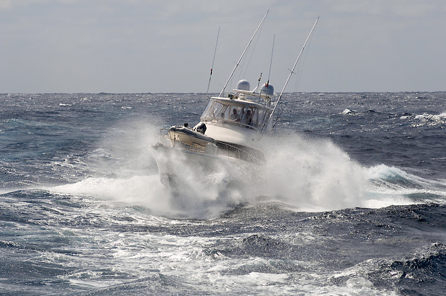 Fishing Boat offshore Baja in windy weather,
