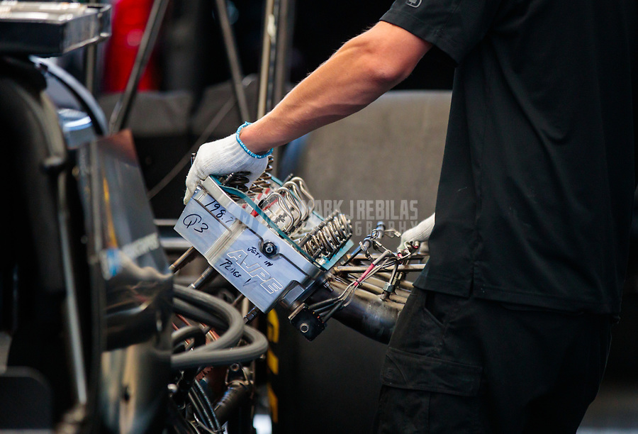 Jul 27, 2019; Sonoma, CA, USA; Detailed view of crew members for NHRA top fuel driver Mike Salinas during qualifying for the Sonoma Nationals at Sonoma Raceway. Mandatory Credit: Mark J. Rebilas-USA TODAY Sports