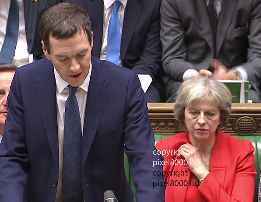 Pic shows: Budget 2016<br /> George Osborne delivers his budget.<br /> <br /> Theresa May's low cut dress seemed to draw admiring glances from Osborne and Cameron<br /> <br /> <br /> <br /> Picture by Pixel8000 07917221968