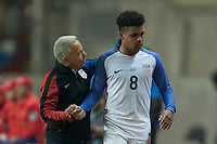 Leiria, Portugal - Tuesday November 14, 2017: Weston McKennie during an International friendly match between the United States (USA) and Portugal (POR) at Estádio Dr. Magalhães Pessoa.