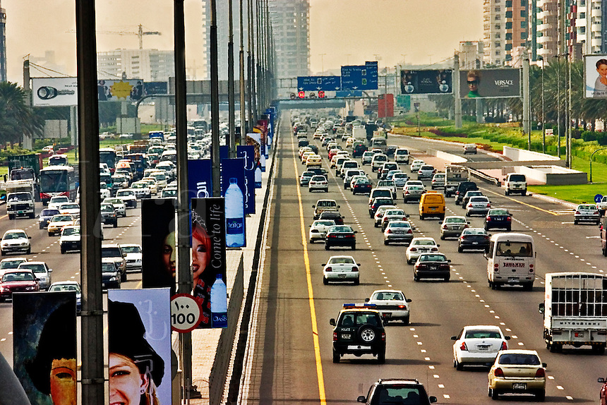 .Dubai. United Arab Emirates.  Heavy traffic on the Sheikh Zayed Road/Abu Dhabi Road..