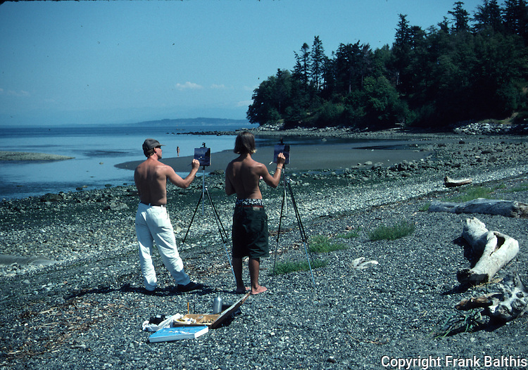 Men painting on beach near Eastsound on Orcas Island